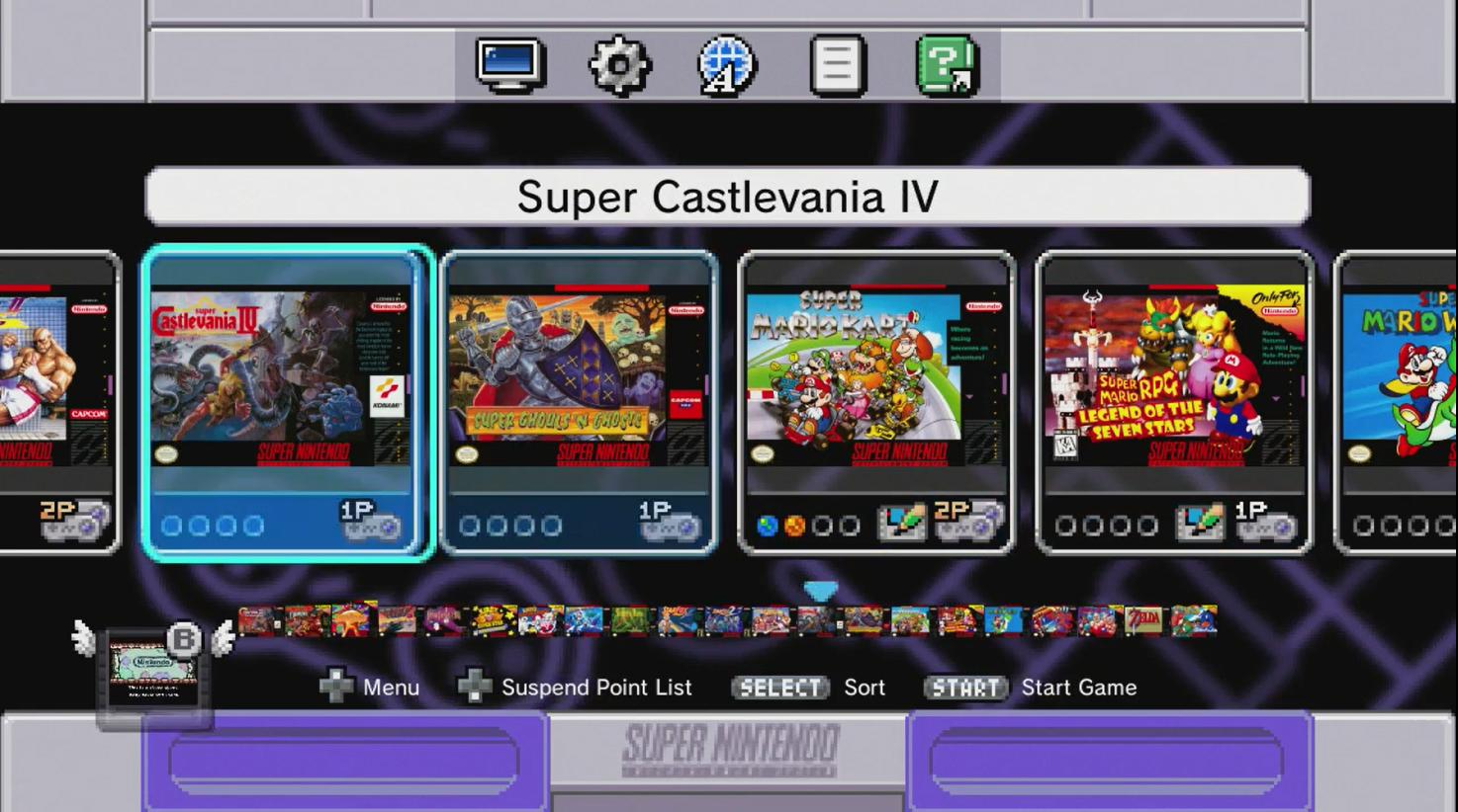 Le menu de la SNES Classic est presque identique à celui de la NES Classic. Chaque jeu peut contenir quatre sauvegardes.