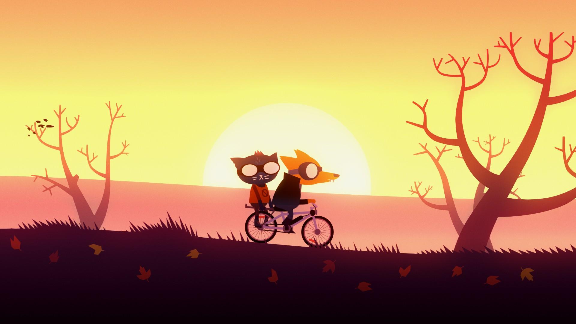Mae en vélo avec son fidèle ami Gregg. | Night in the Woods