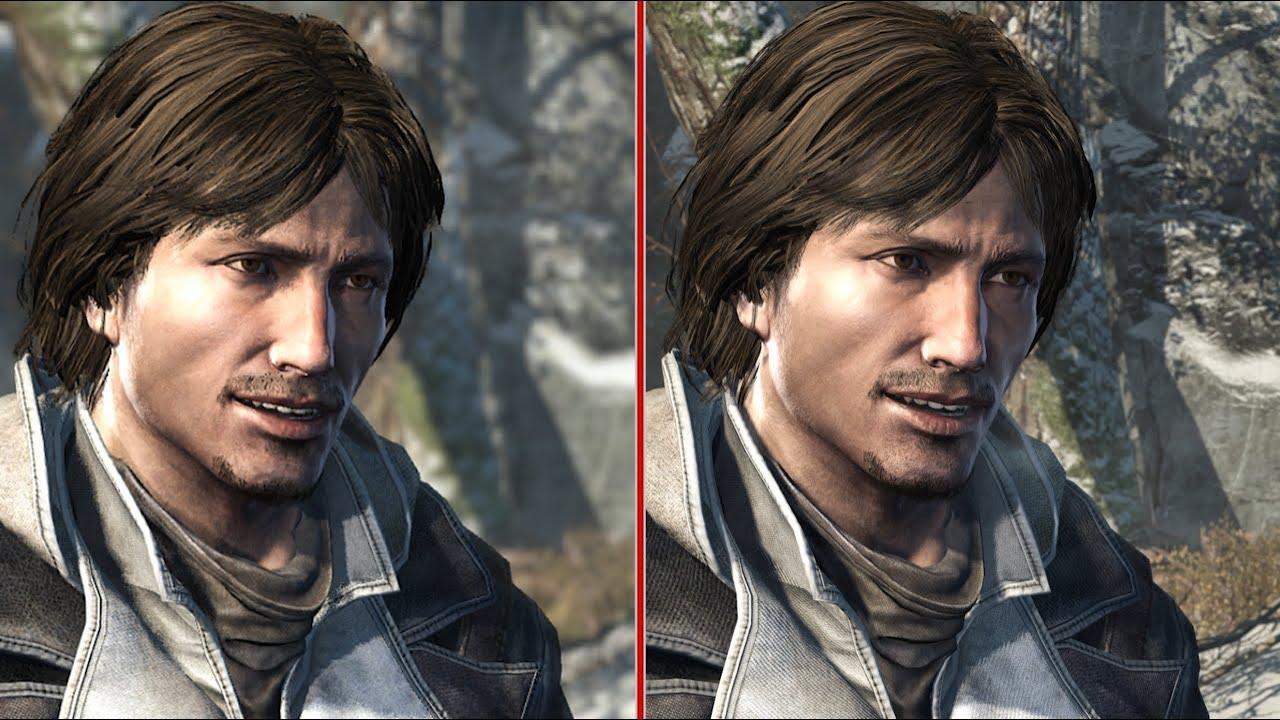 À gauche, la version originale du jeu sur PS3/Xbox 360, à droite, la version remasterisée. On voit que les détails à l'arrière sont bien meilleurs, mais le personnage lui-même est presque identique. Assassin's Creed Rogue Remastered