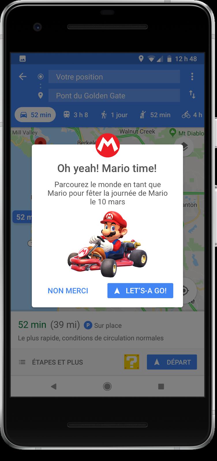 Invitez Mario dans l'application Google Maps! Le célèbre plombier moustachu vous accompagnera dans tous vos déplacements.