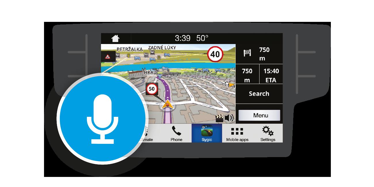 Les commandes vocales de Sygic vous permettent de garder les yeux sur la route.