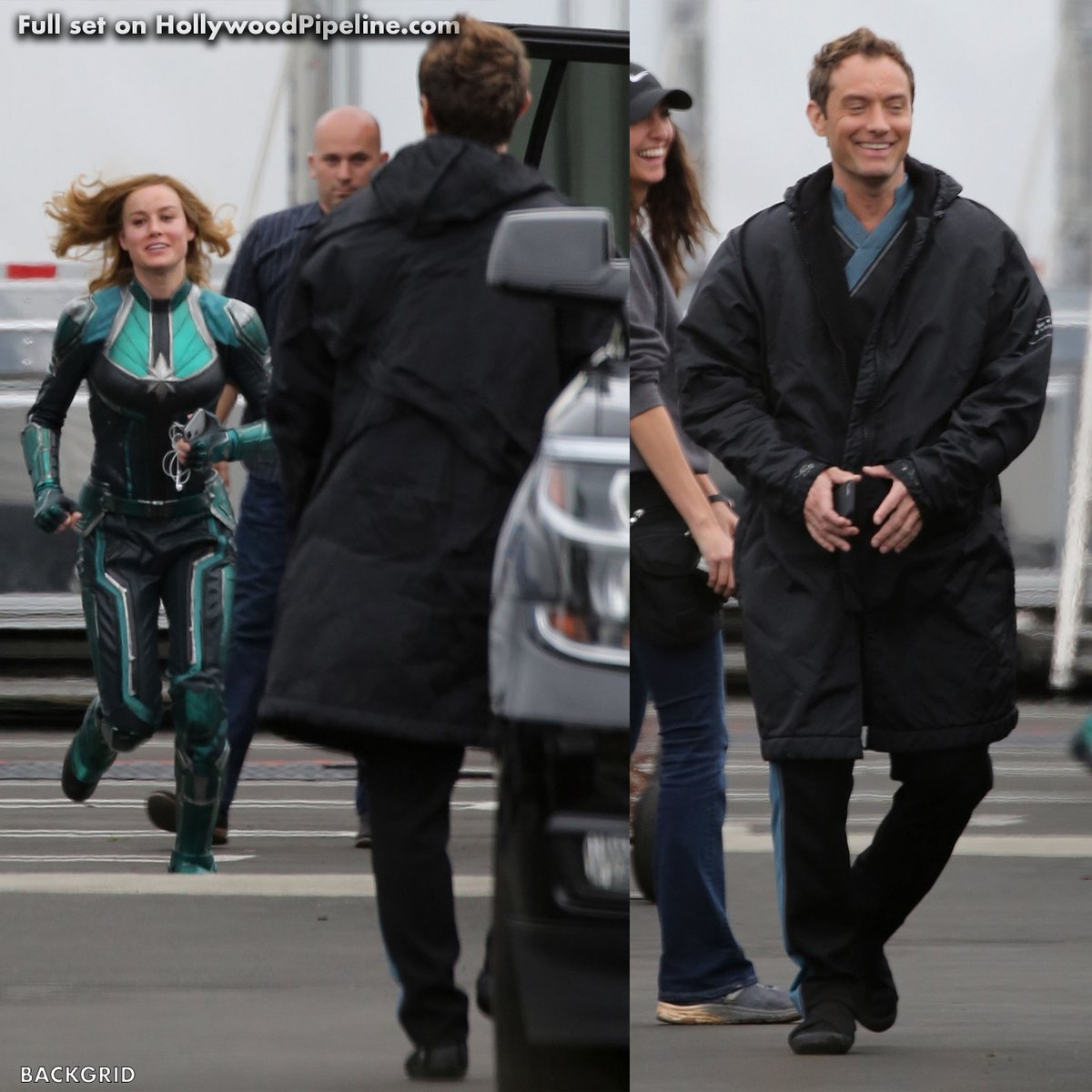 "<em><strong>Brie Larson (Captain Marvel) et Jude Law (Mar-vell) sur le plateau de tournage de ""CAPTAIN MARVEL""</strong>. ©Hollywood Pipeline</em>"