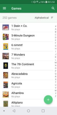 Application BG Stats - Liste des jeux
