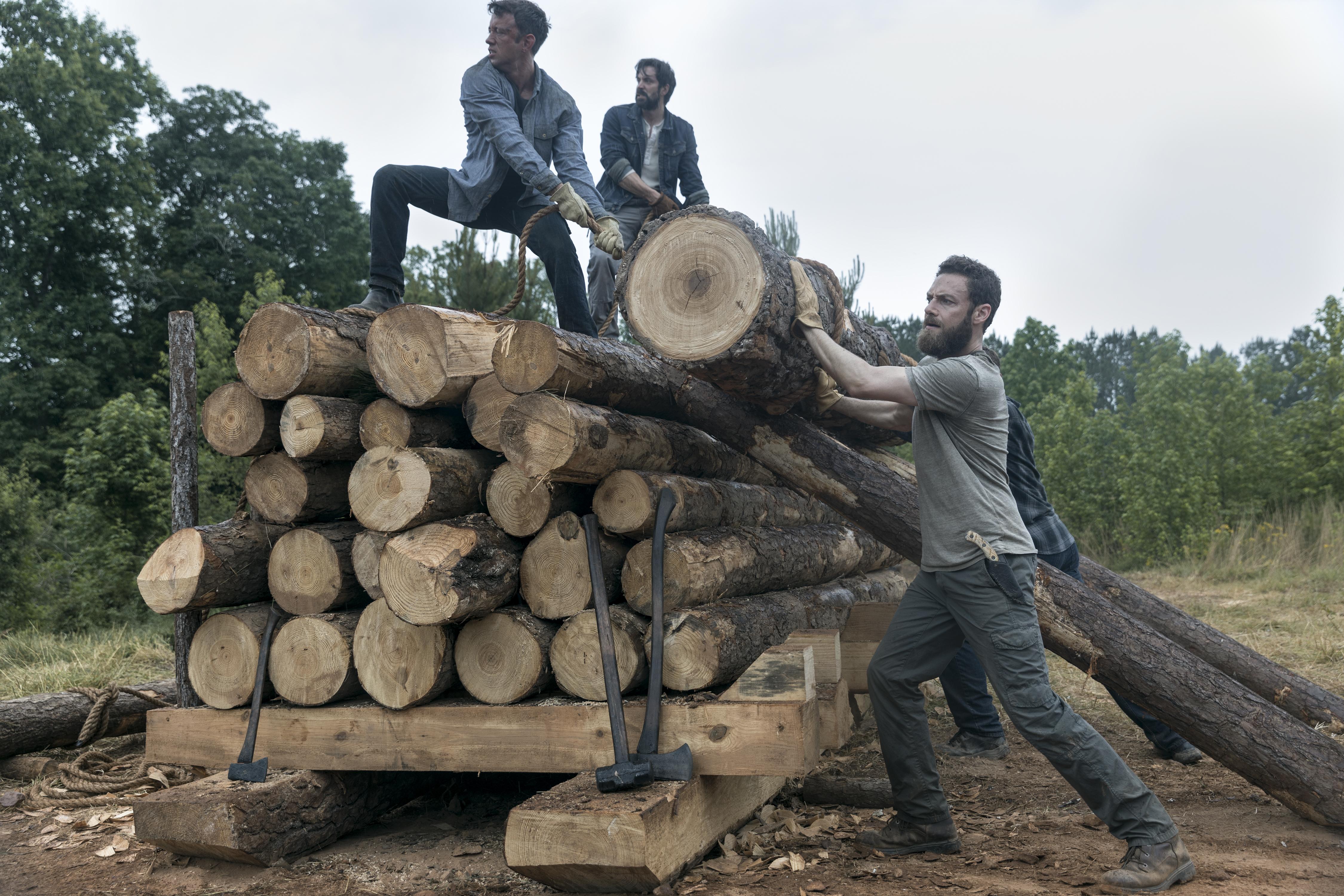 Jed (Rhys Coiro) et Aaron (Ross Marquand) travaille au site de bûchage pour produire les matériaux pour le pont - The Walking Dead Saison 9 Épisode 2 - Crédits photo: Jackson Lee Davis/AMC