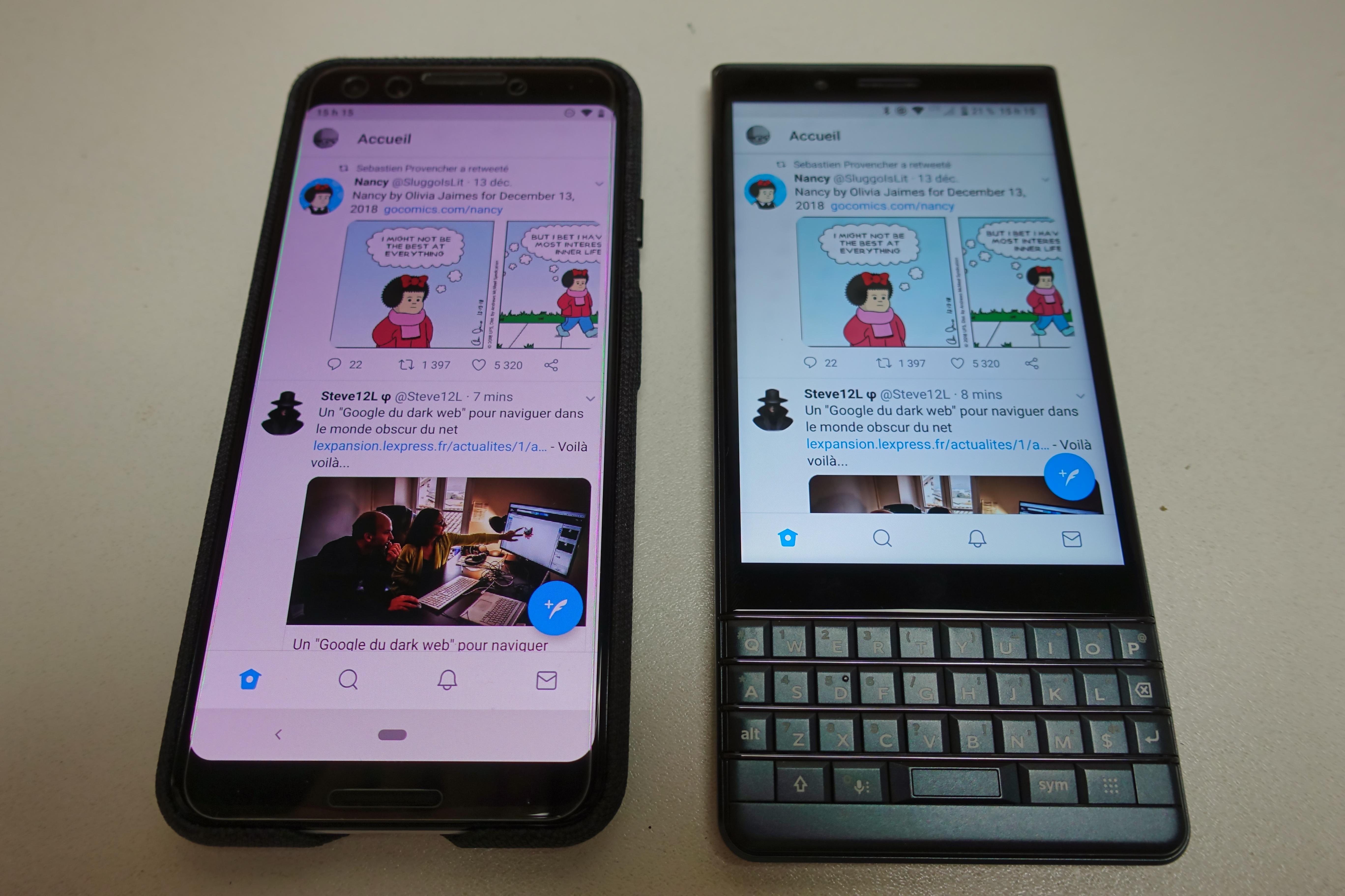 Comparaison du ratio d'écran du Pixel 3 et du KEY2 LE dans Twitter