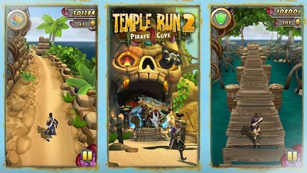 Temple Run 2 est un jeu de course infinie où le but est d'amasser des trésors et éviter des obstacles