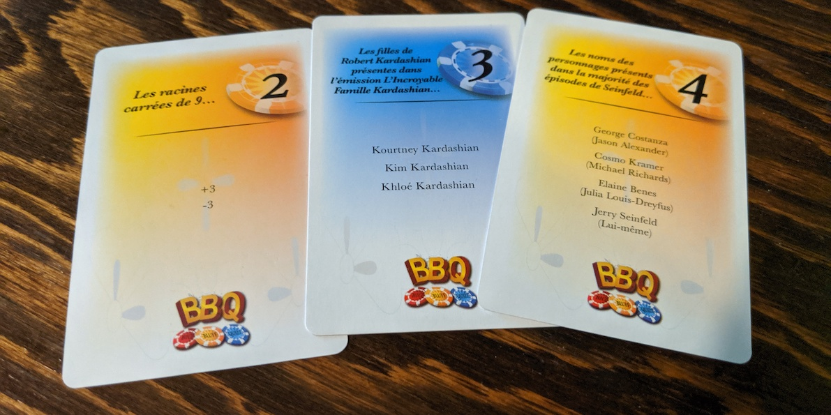 Cartes du jeu de société Big Bluff Quizz