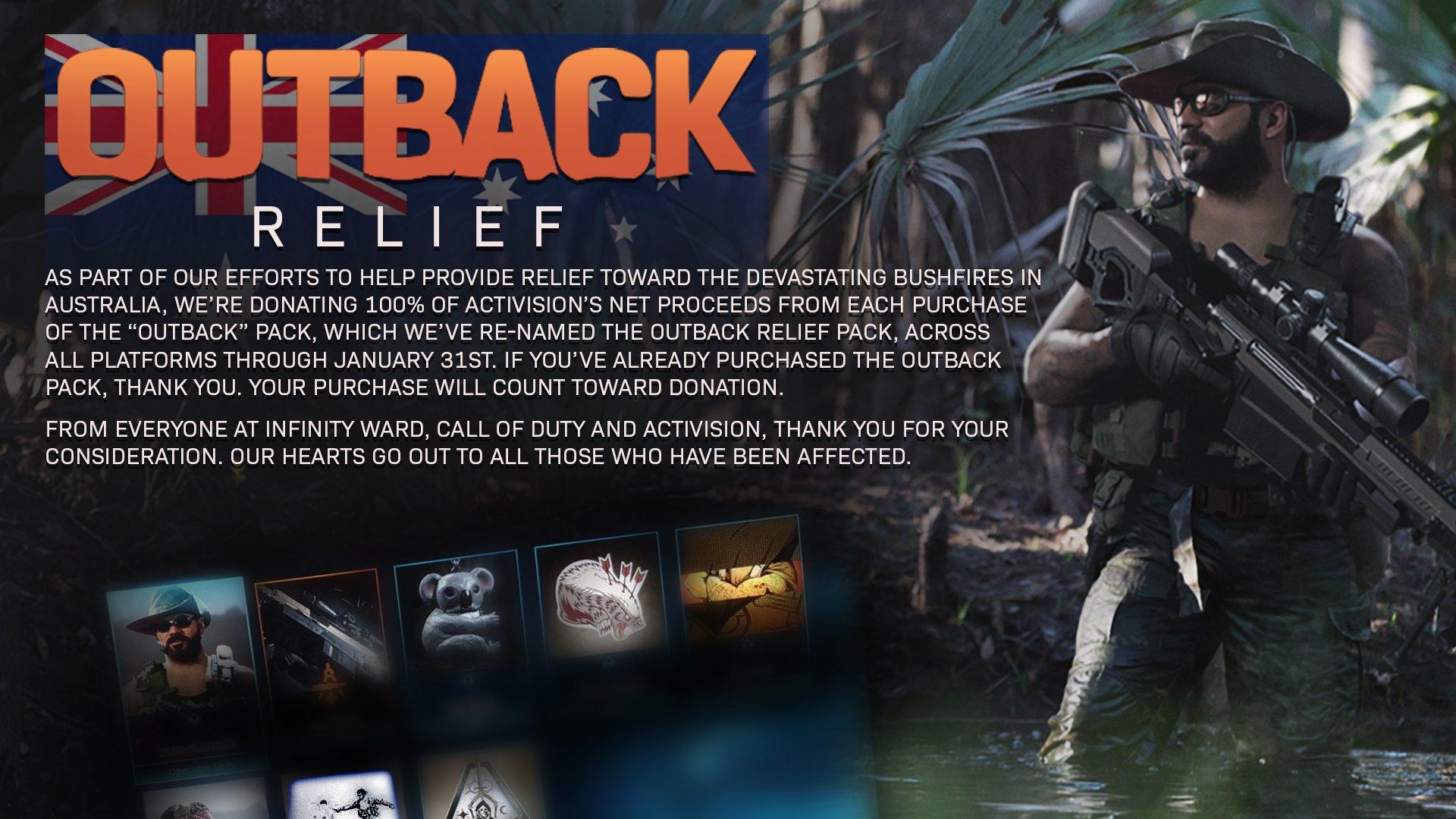 L'ensemble des recettes provenant des ventes du Outback Relief Pack est allé à l'organisme Direct Relief