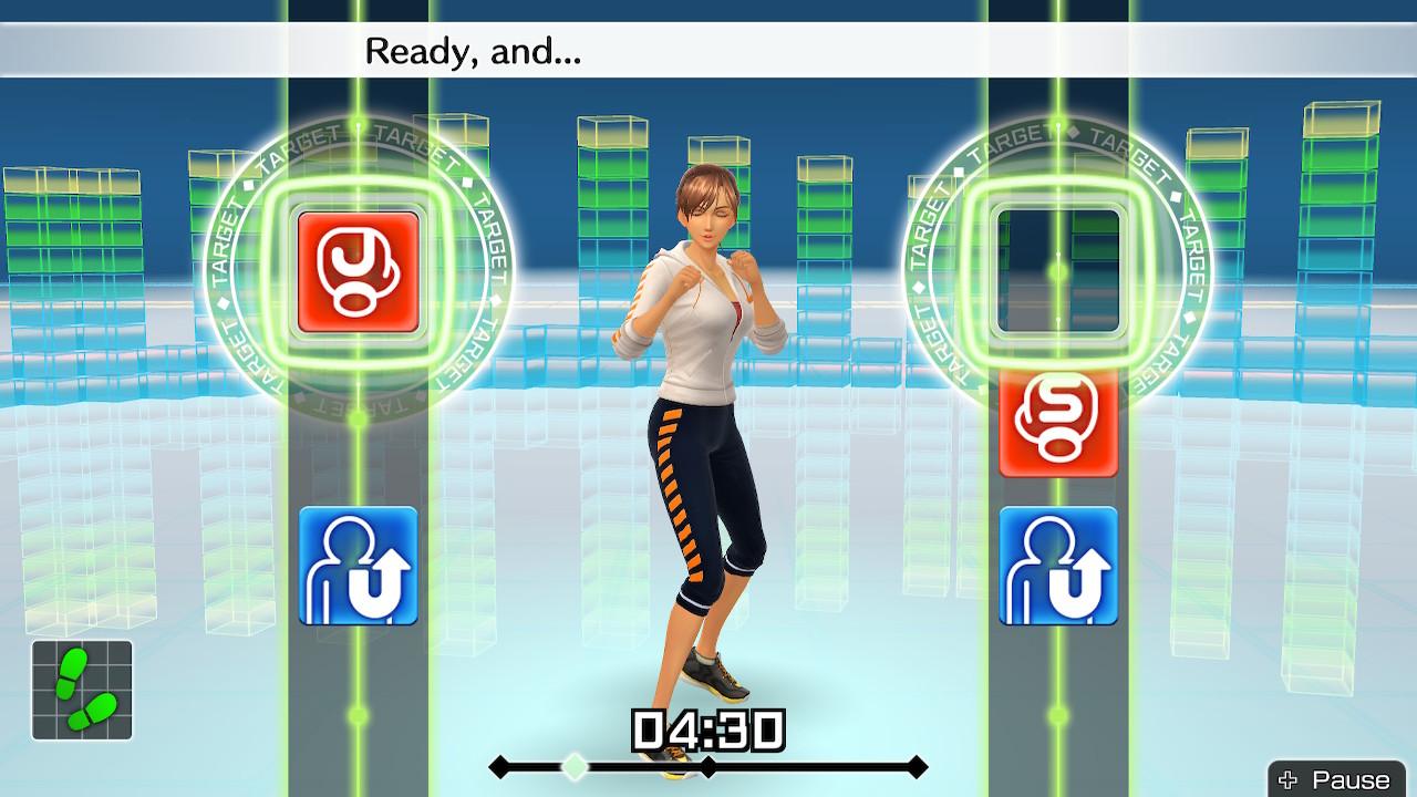 L'interface du jeu lors d'un entraînement. - Fitness Boxing