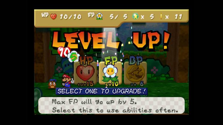 Capture d'écran de Paper Mario (Nintendo DS), suite spirituelle de Super Mario RPG.