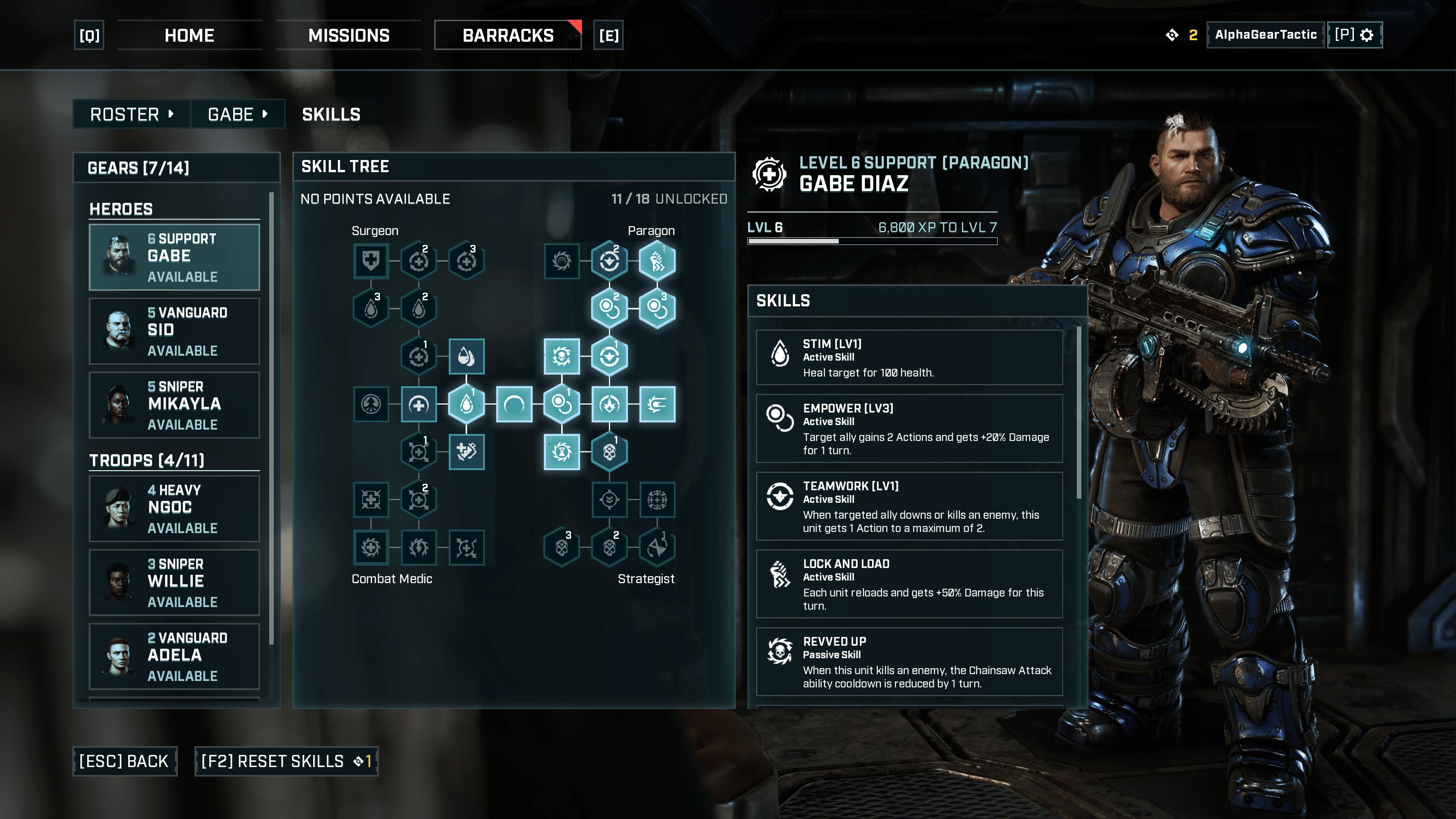 Les diverse progressions possibles d'une unité de support dans Gears Tactics