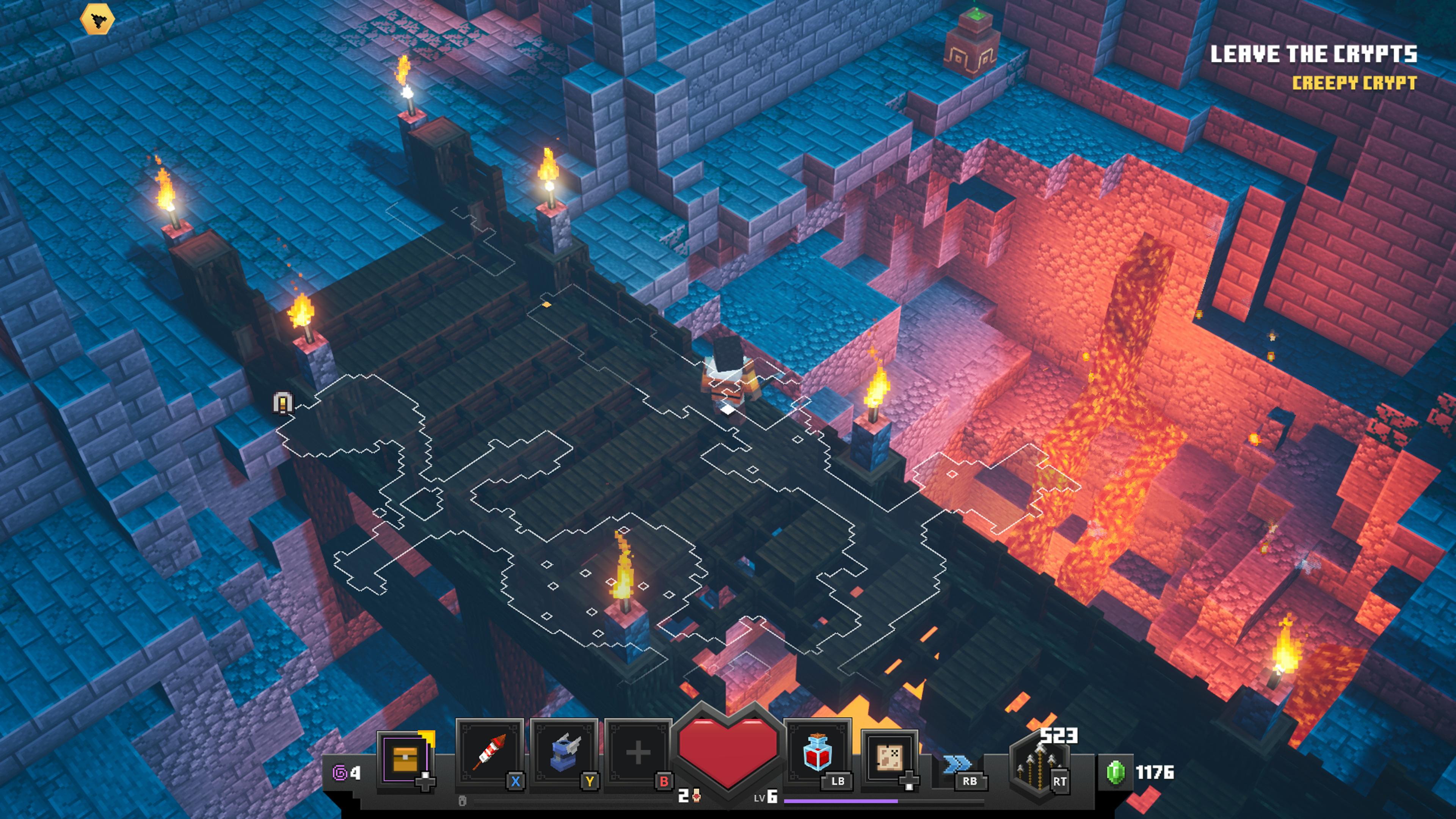 Malgré un style de jeu plus sérieux, Minecraft Dungeons conserve le look de l'original