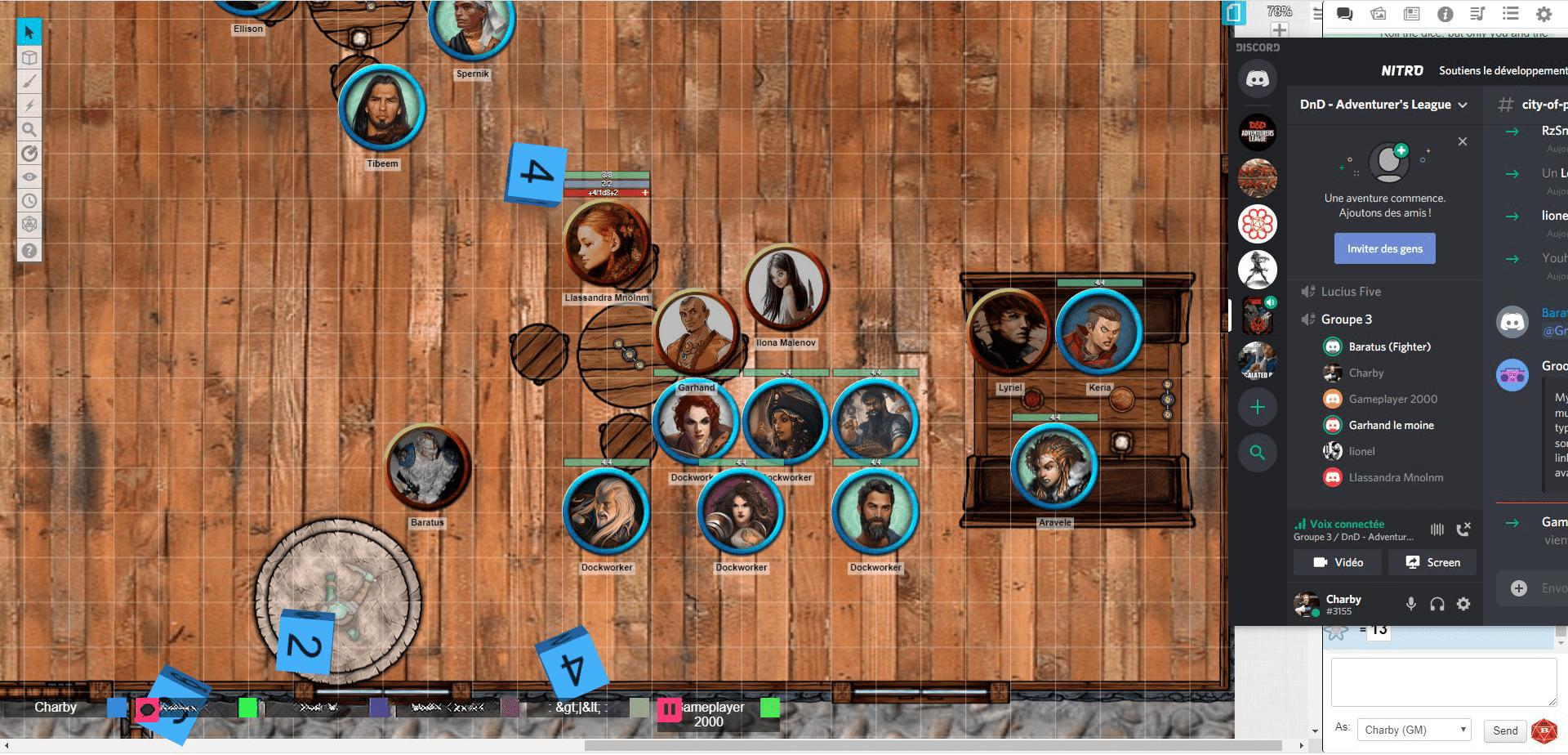 Des personnages confrontés à des ivrognes dans une taverne de Faérun. (Roll20)