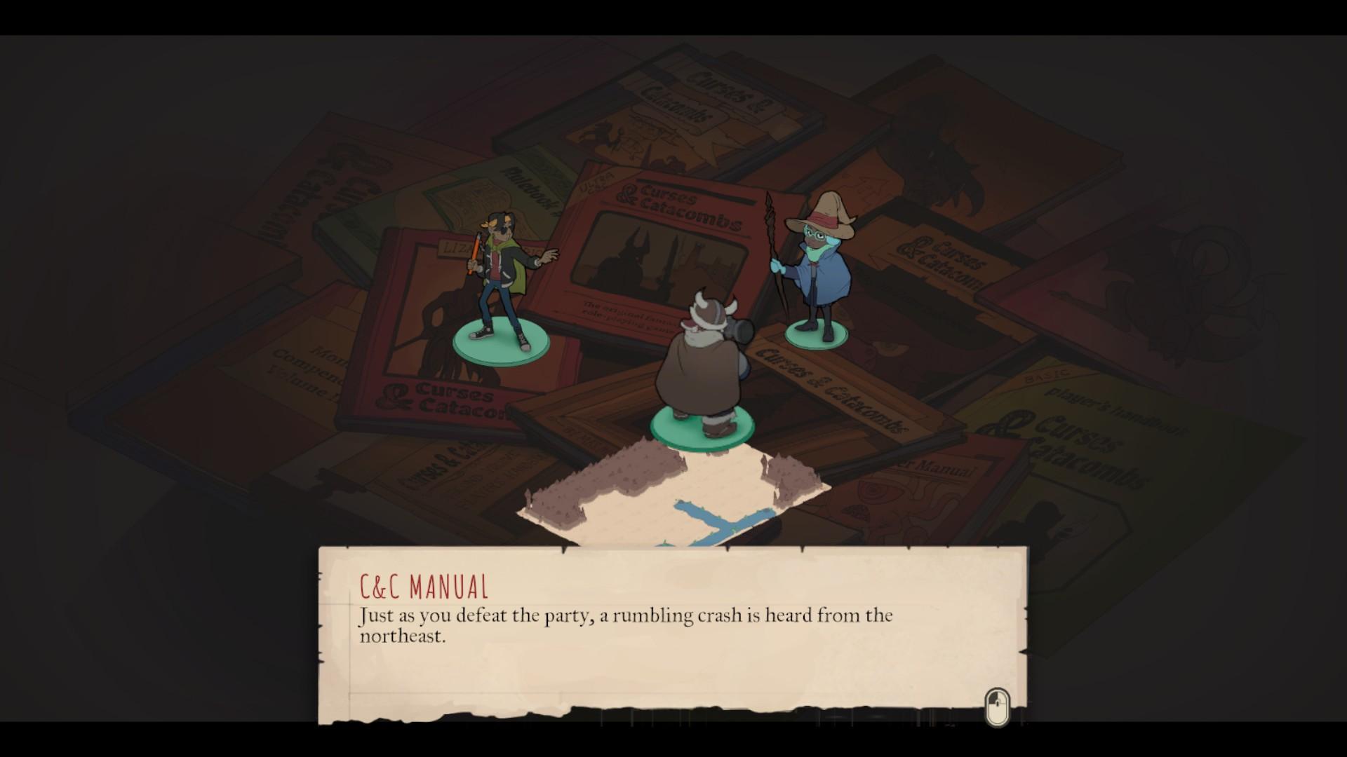 Les personnages jouent à un pastiche de Donjons et Dragons.
