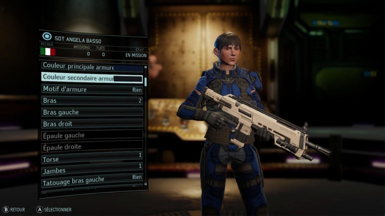 Menu de personnalisation de l'un des soldats de XCOM.