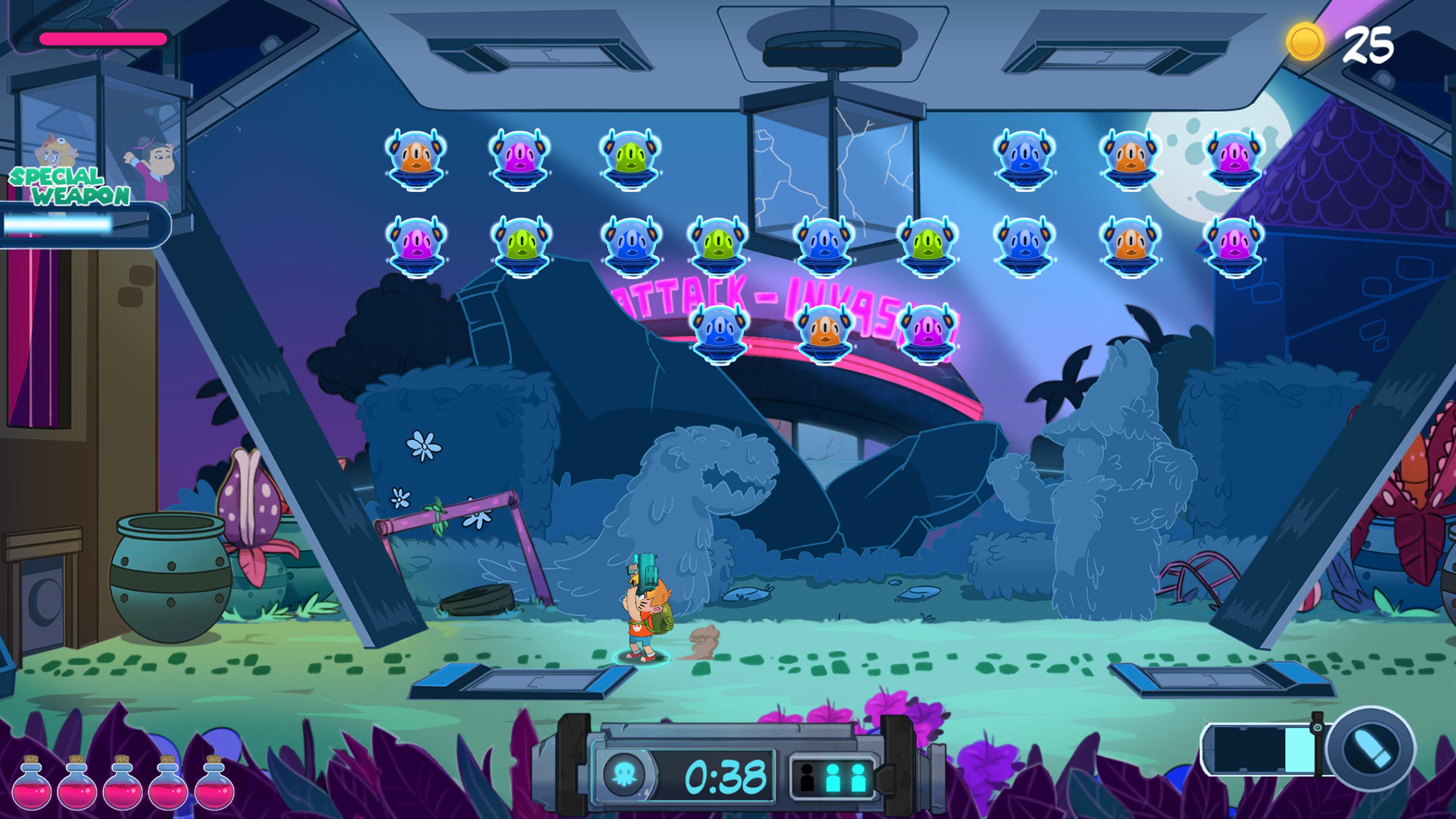 Le jeu est un hommage aux jeux d'arcade des années 80, comme cette séquence tirée de Space Invaders