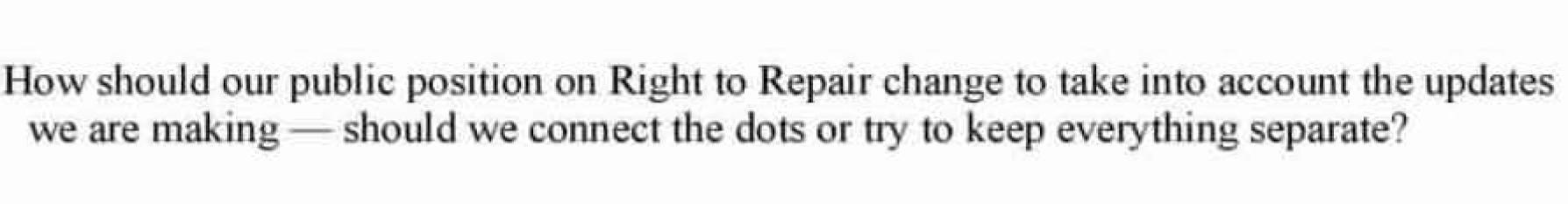 courriel de Lori Lodes montrant une ouverture chez Apple de changer sa position sur le droit à la réparation