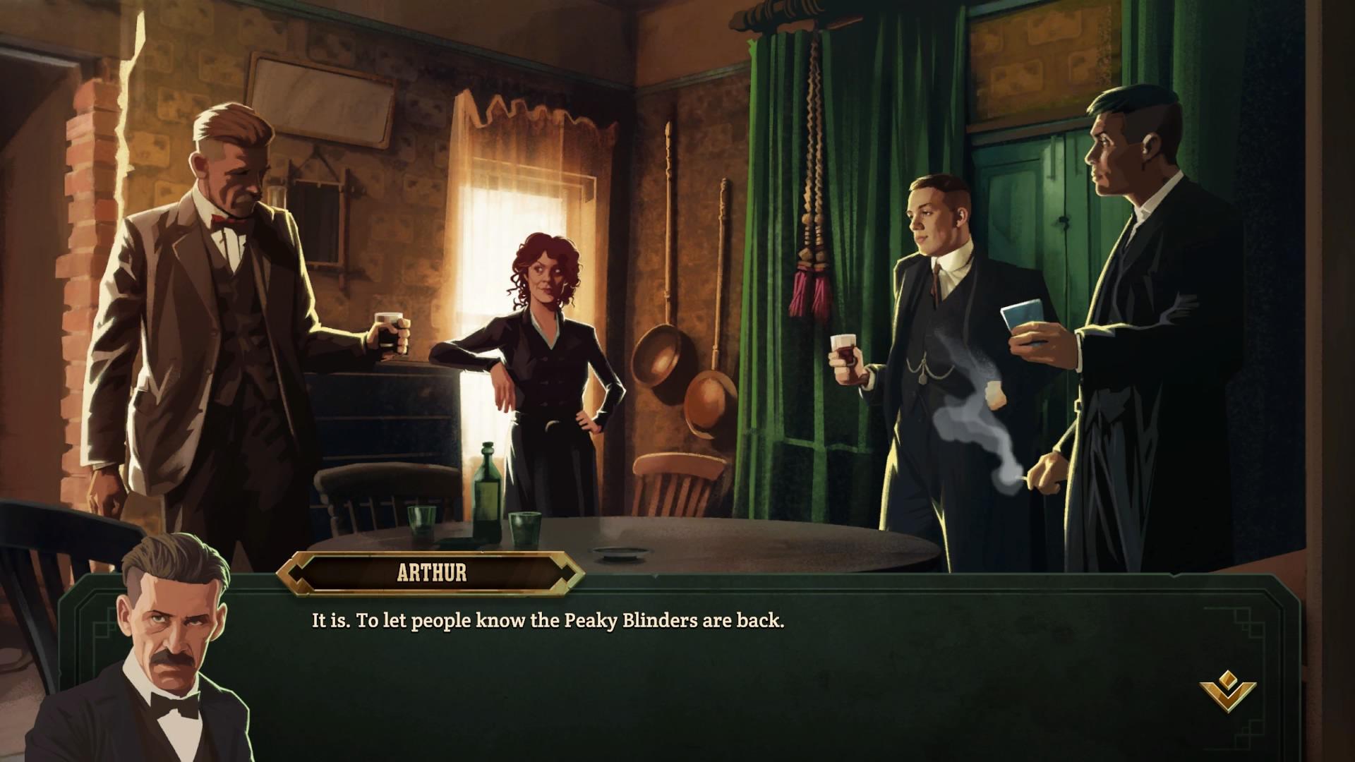 Les cinématiques de Peaky Blinders: Mastermind sont entièrement sous forme de texte. On aurait apprécié des voix hors-champs.