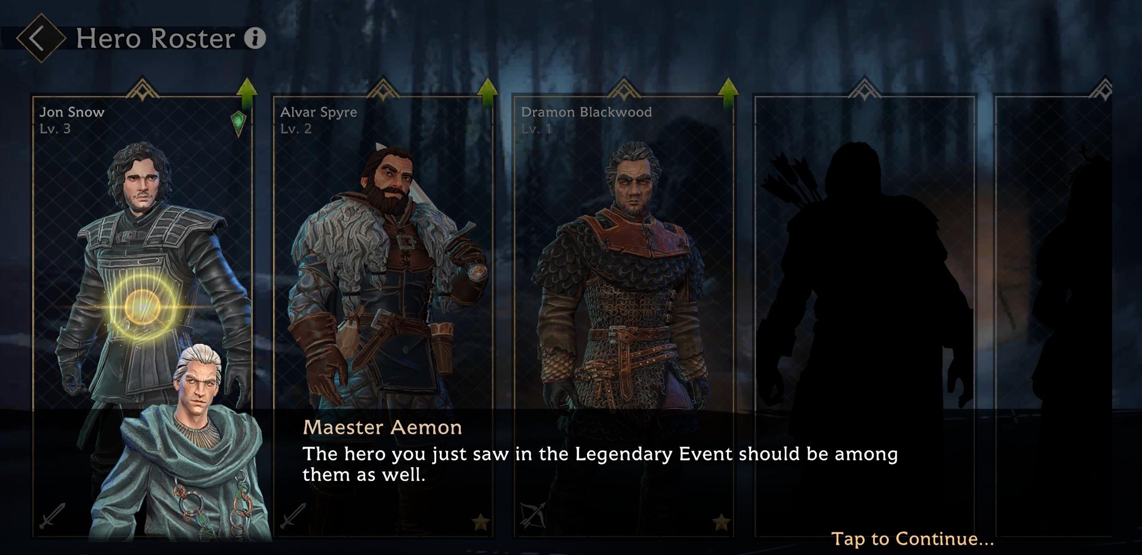 Utiliser des héros comme Jon Snow et une sélection de tout nouveaux uniques au jeu