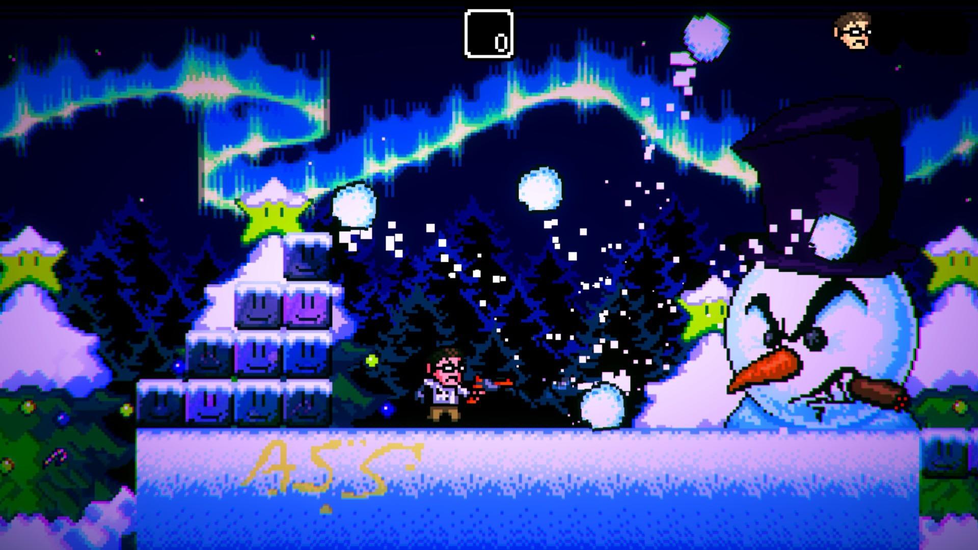Le niveau de Noël est inspiré par un des nombreux vidéos que le Nerd a produit pour couvrir des jeux basés sur la période des Fêtes