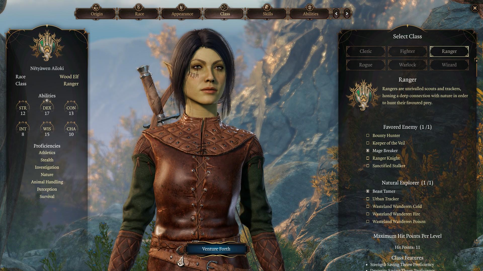 L'interface de création de personnage.