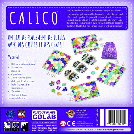 Boîte arrière du jeu Calico. Image courtoisie de Lucky Duck Games