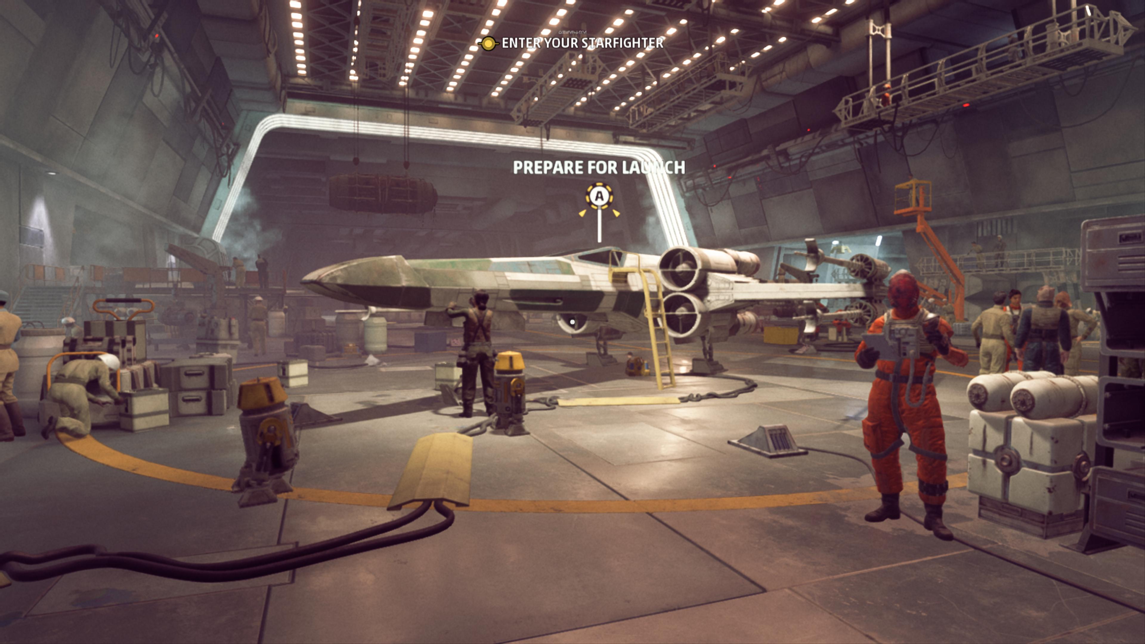 Le temps passé entre les missions peut être utilisé pour bavarder avec ses collègues et explorer les options pour son chasseur.