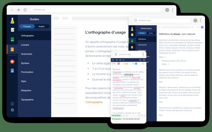 Interface Antidote Web de Druide Informatique et Antidote Plus