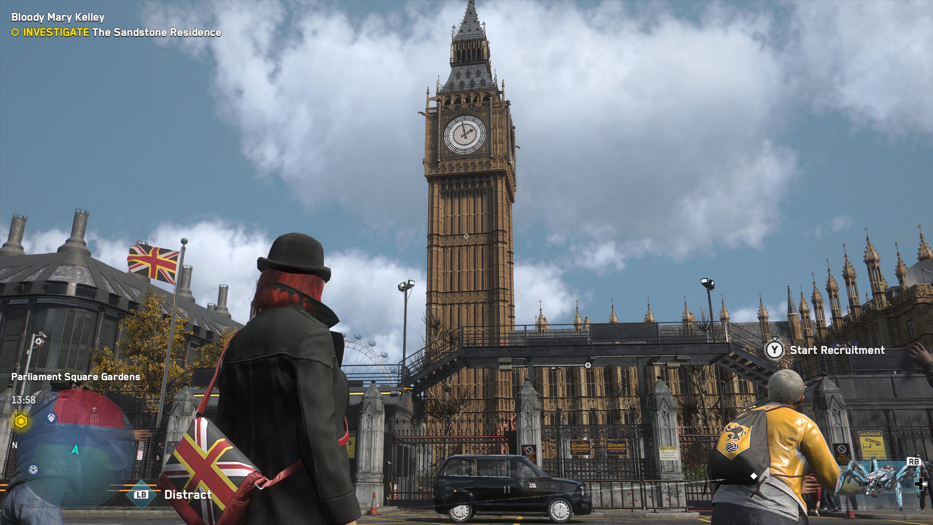 Admirez la précision de certains immeubles de Londres (et ignorez les cheveux du personnage à travers le col de son manteau)