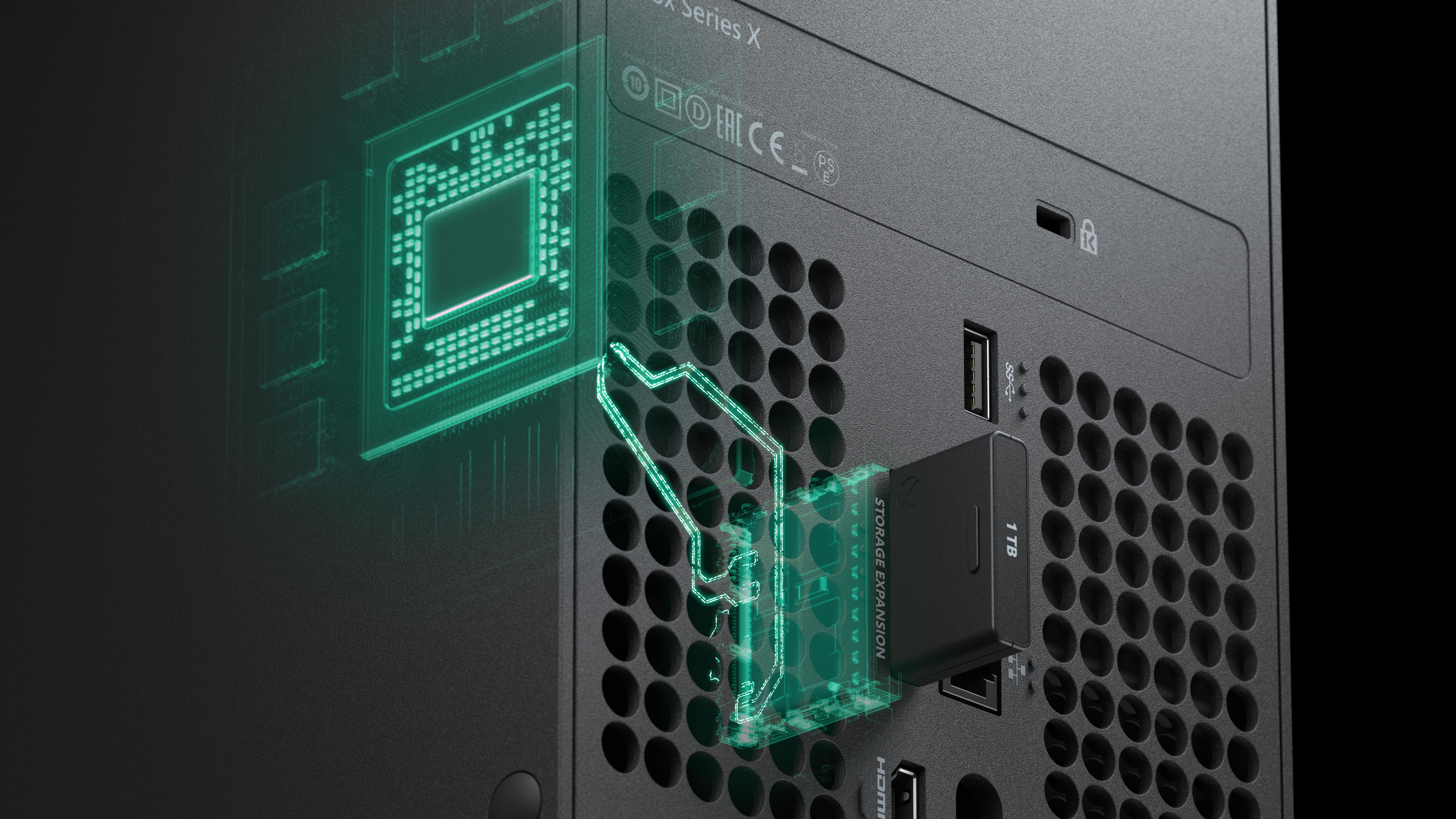 Si le disque dur interne de 1TB est insuffisant, il est possible d'en ajouter un deuxième grâce à la fente d'extension