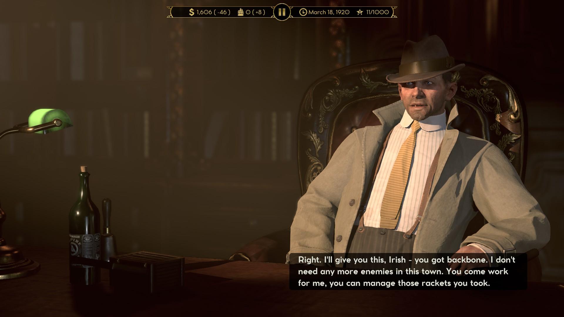 Plusieurs bogues visuels peuvent survenir lors des entretiens entre les différents boss de la mafia.