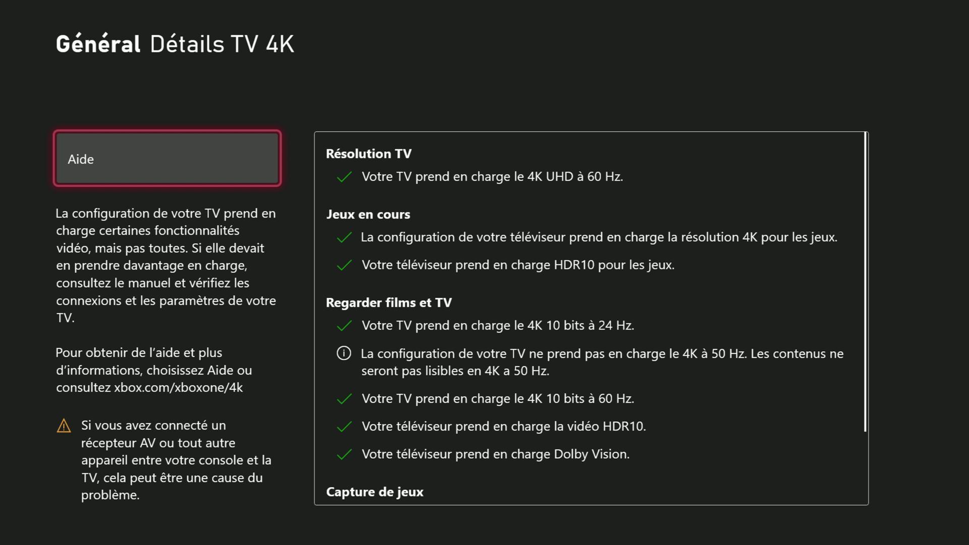 Capture d'écran des détails 4K détectés par la Xbox One X. Capture réalisée via les outils de développement du système Roku TV.