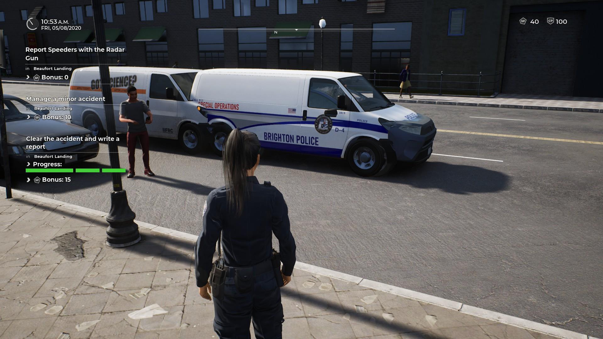 Police Simulator: Patrol Officers : Le jeu est encore truffé de bogues au niveau des graphismes, comme des véhicules qui s'imbriquent un dans l'autre