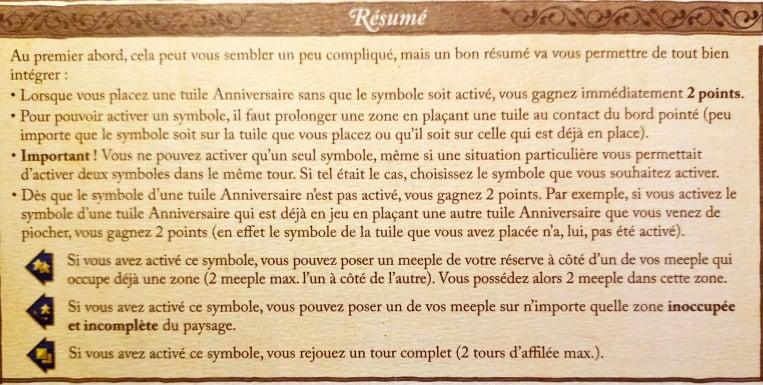 Carcassonne 20e anniversaire règles