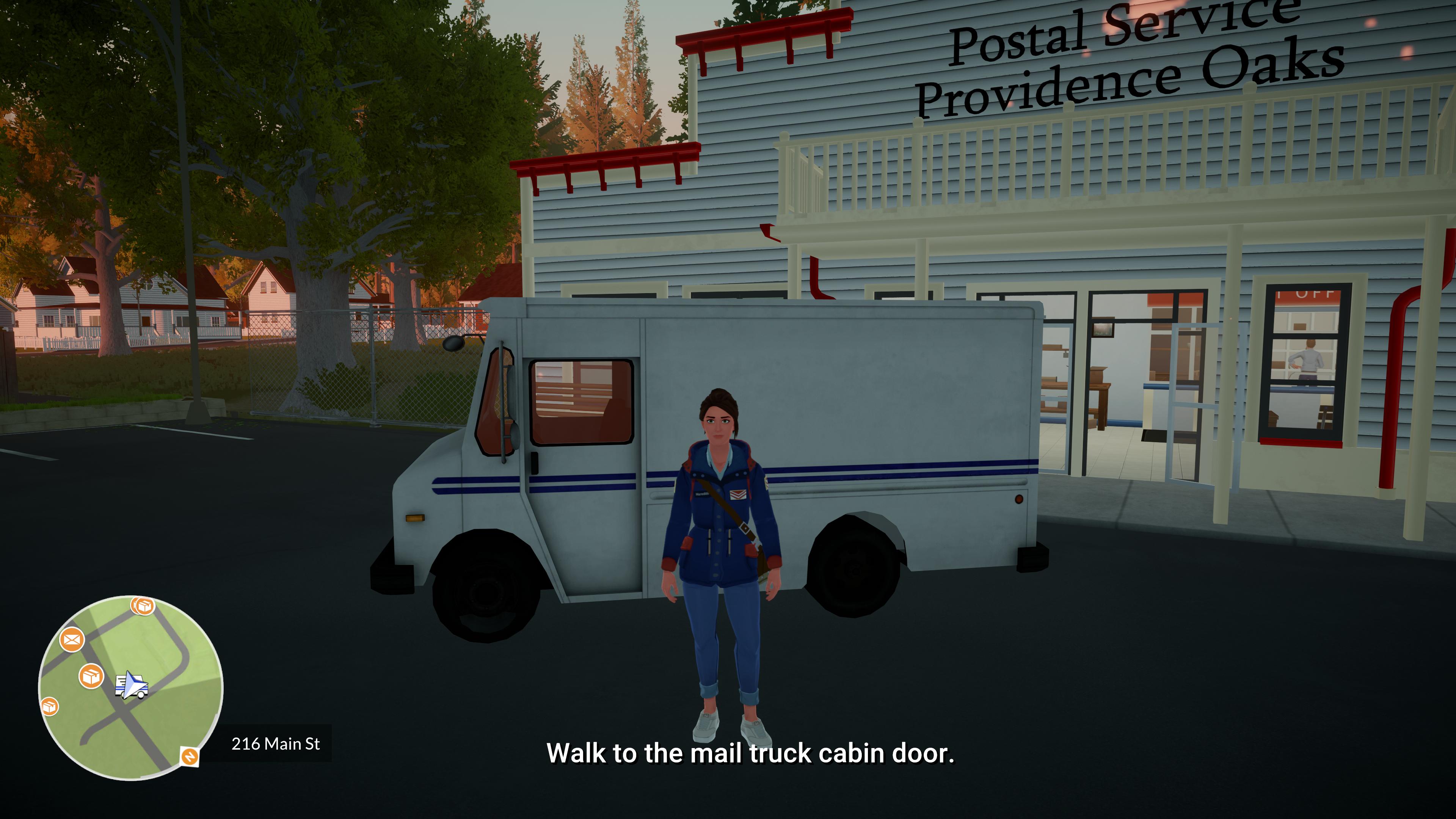 Chaque matin débute au bureau de poste local où se trouve le fourgon que Meredith conduira